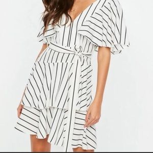 Misguided white grill stripped tea dress